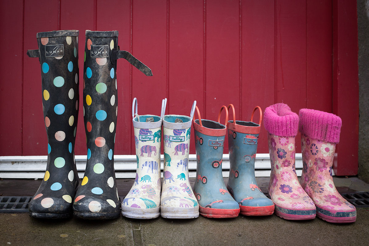 wellies in a row
